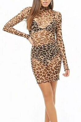 Sexy Sheer Leopard Cheetah Costume Printed Dress Long Sleeve S NEW