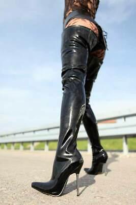 Erogance Lack Crotch Overknees Stiefel Schwarz Gr. 37-46 NEU 10907L Boots online kaufen