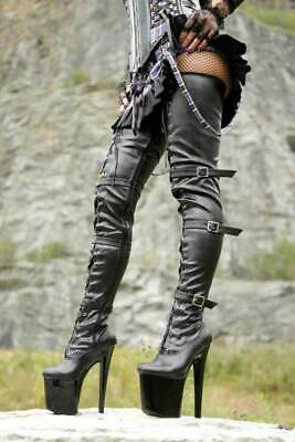 Mega Plateau Crotch High Heels Stiefel 37-43 NEU 3528L Overkneestiefel Boots online kaufen