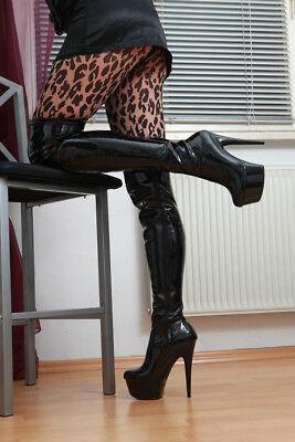 Lack High Heel Stiefel (Lack Plateau High Heels Overknee Stiefel 37-43 NEU 10709 Overkneestiefel Schwarz)