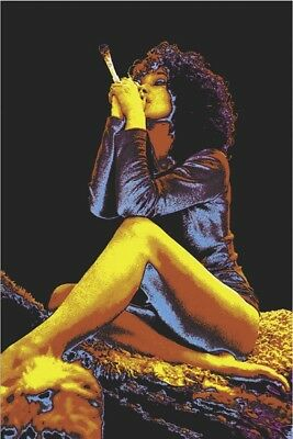JOINT GIRL BLACKLIGHT ART POSTER PICTURE, POT WEED MARIJUANA, size 24x36
