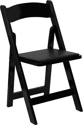Lot Of 4 Black Wood Folding Chairs Vinyl Padded Seat