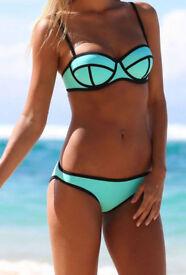 Mint colour 2pcs bikini swimsuit - size 8 - 10 NEW