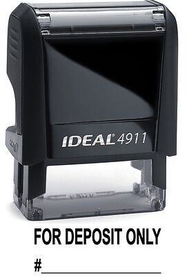 For Deposit Only Text With Account Line Ideal 4911 Self-inking Stamp Black Ink