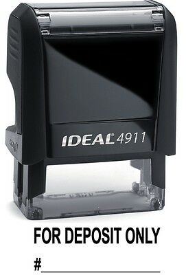 FOR DEPOSIT ONLY text with Account Line, IDEAL 4911 Self-inking Stamp, BLACK INK