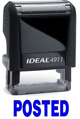 Posted Stamp Text On Ideal 4911 Self-inking Rubber Stamp With Blue Ink