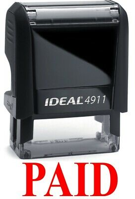 Paid Stamp Text On Ideal 4911 Self-inking Rubber Stamp Red Ink