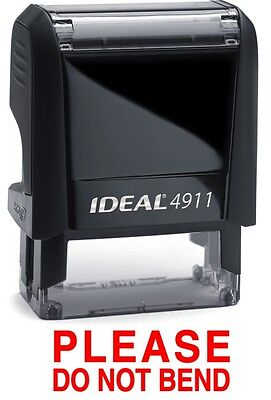 Please Do Not Bend Stamp Text On Ideal 4911 Self-inking Rubber Stamp Red Ink