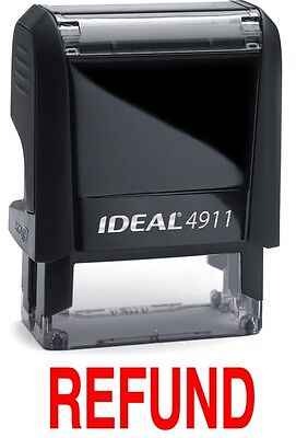 Refund Text On Ideal 4911 Self-inking Rubber Stamp With Red Ink