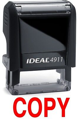 Copy Text On An Ideal 4911 Self-inking Rubber Stamp With Red Ink