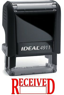 Received With Date Box Ideal 4911 Self-inking Rubber Stamp With Red Ink