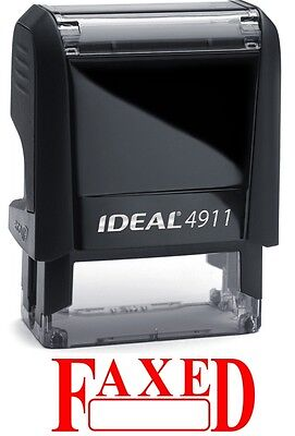 Faxed Text With Date Box Ideal 4911 Self-inking Rubber Stamp With Red Ink