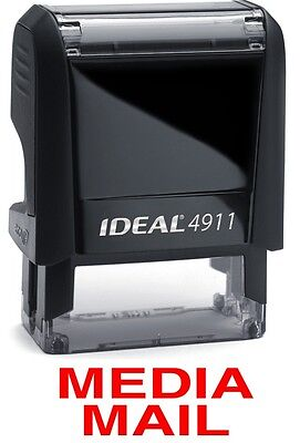 Media Mail Text On An Ideal 4911 Self-inking Rubber Stamp With Red Ink