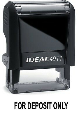 For Deposit Only Text On An Ideal 4911 Self Inking Rubber Stamp With Black Ink
