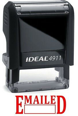 Emailed Text With Date Box Ideal 4911 Self-inking Rubber Stamp Red Ink