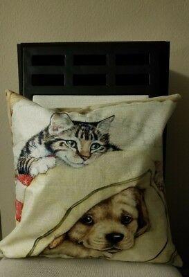 "Puppy Dog & Kitten Under Bed Blanket Linen Throw Pillow Cover 18"" US Seller"