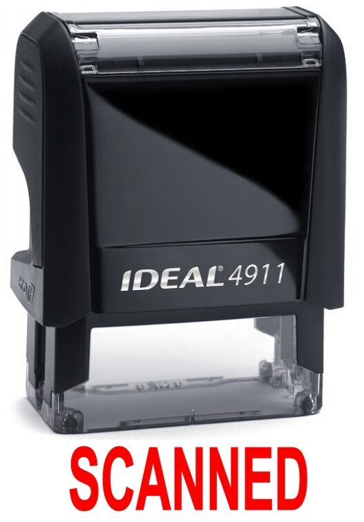SCANNED stamp text on IDEAL 4911 Self-inking Rubber Stamp, RED INK