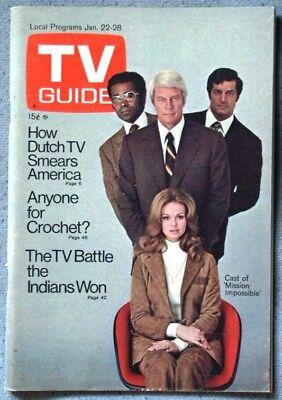 Vintage Tv Guide Mission Impossible Cast Jan 22 1972 No Label Listings Removed