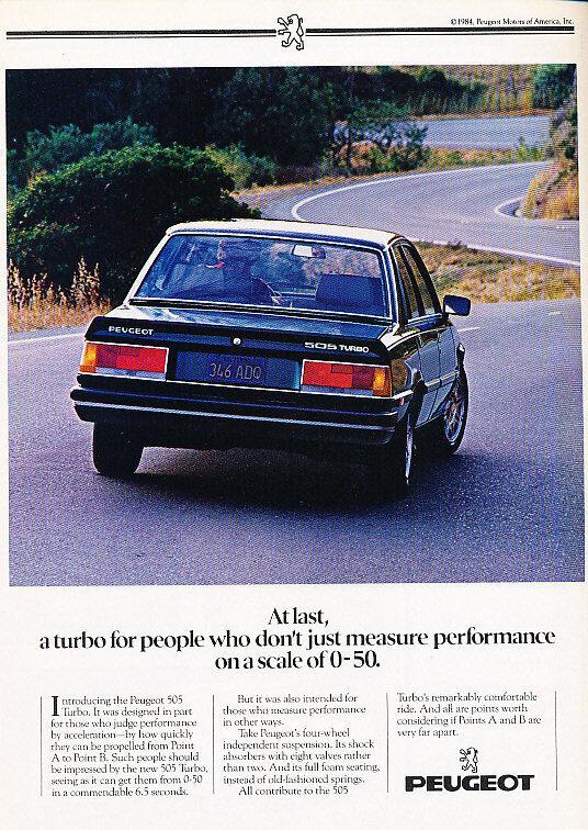 1985 Peugeot 505 Turbo Sedan - 6.5sec - Classic Vintage Advertisement Ad A75-B