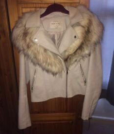Light grey river island leather jacket with fur trims Size 10
