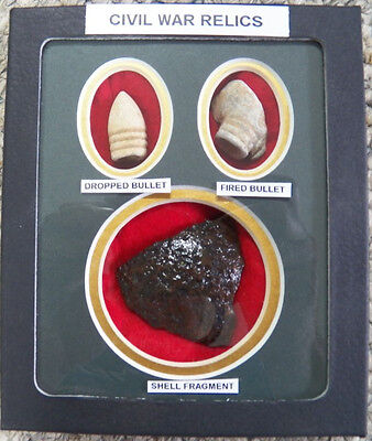 - Excavated Civil War Artillery Shell Fragment & Bullets In Matted Display Case