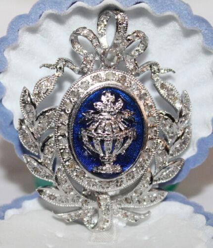 3.50ct ROSE CUT DIAMOND BLUE ENAMEL ANTIQUE VICTORIAN LOOK 925 SILVER BROOCH