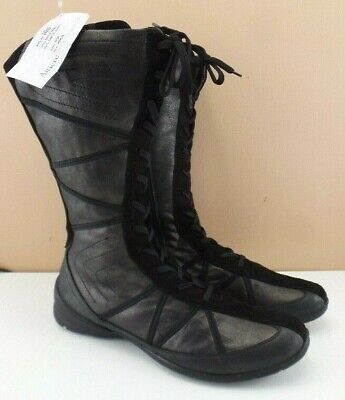 khrio, italian leather boots, black n suede metallic lace up, textured sole, UK4