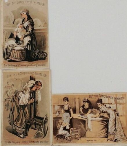 1880s Set of 3 Victorian Trade Cards Conqueror Wringer Gammons Bridgewater