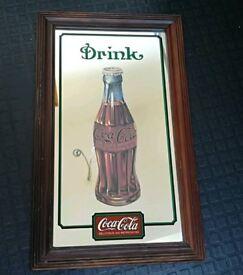 Vintage coca cola mirror advertising sign