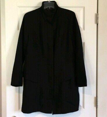 WOMEN'S MOSSIMO BLACK LONG peacoat WOOL COAT -size large. RN 17730 VN1074381 Long Black Wool Coat