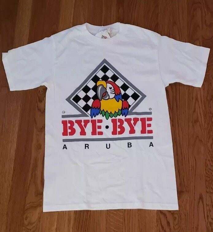 Vintage Stock T-Shirt From The Island Of Aruba Parrot Bye Bye Tag Still attached