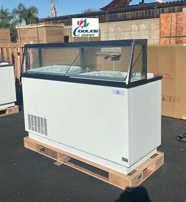 New 68 Ice Cream Gelato 8 Tub Freezer Top Glass Nice Modern Display Nsf Etl