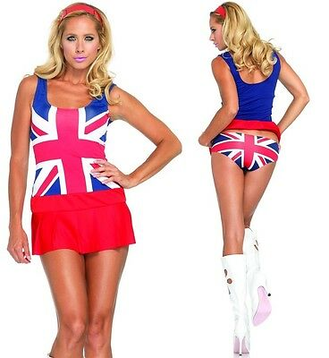 Cheeky Brit Costume, Leg Avenue 1990's Fancy Dress 6-14 Ginger Spice Girls Flag