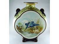 RARE LARGE MINTON MOON FLASK / VASE 1842 HAND PAINTED
