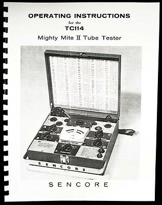 Sencore Tc-114 Tc114 Tc 114 Mighty Mite Ii Tube Tester Manual
