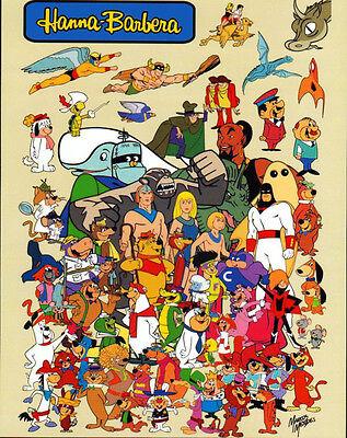 Hanna Barbera SUPER HEROES & CHARACTER COLLAGE PRINT Yogi Space Ghost Herculoids