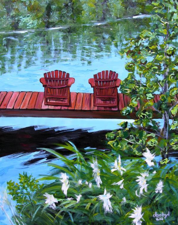Beach Lake Adirondack Original Art Painting Artist Dan Byl Acrylic Huge 4x5 Feet