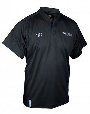 Guinness Black Embossed Print Rugby Jersey Mens Irish Shirt Dublin Ireland New