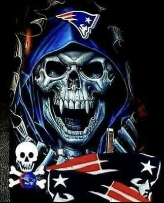 New England Patriots Stickers ((2) New England Patriots Death Skull Vinyl Stickers 4.75x3.8 Car Window)