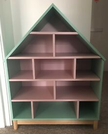 Beautiful storage unit for kids - pink and mint colour, house-shaped book case