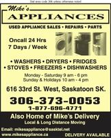Repairs: Washers,dryers,fridges,stoves: $60 min.  306 202 2893