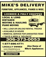 MIKE'S MOVERS JUNK REMOVAL SASKATOON PIANO DELIVERY MOVING