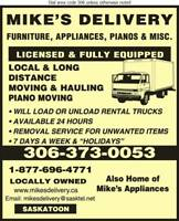 24 HR. PIANO FURNITURE APPLIANCE MOVING SASKATOON