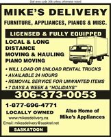 Mike's Moving & Hauling Ltd. Saskatoon: Piano Movers VISA,M/C