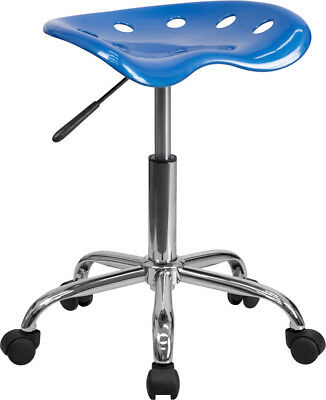 Vibrant Bright Blue Tractor Seat And Chrome Stool - Lf-214a-brightblue-gg
