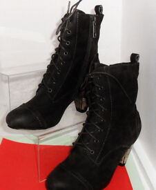 New Ladies Victorian Style Heeled Black Lace Up Ankle Boots with Side Zips.Size 4.