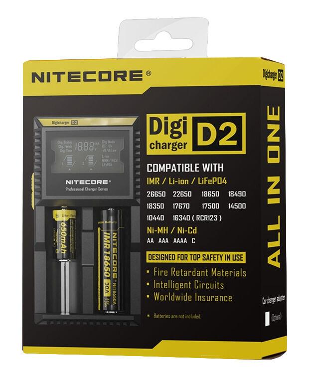 Купить NITECORE D2 Digi charger For 18650 14500 18350 16340 10400 AA AAA Li-ion Ni-Mh