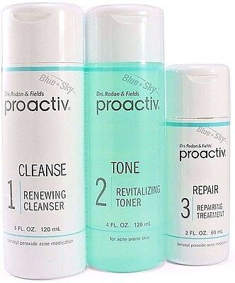 Proactiv 3 piece Kit 60 Day cleanser toner lotion Proactive Solution Step 2018