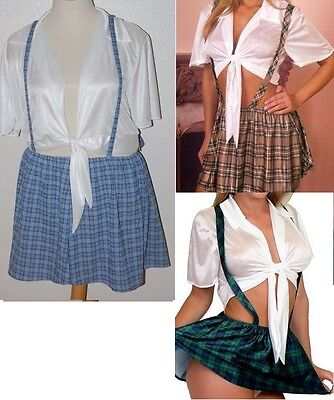 New Role Playing Plus Size School Girl Costume S M 1X 2X 3X 4X Lingerie T4218
