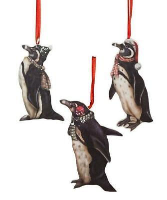 Bethany Lowe Designs Holiday Christmas Penguin Dummy Board Ornament Set of 3